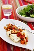 Ricotta with chick-pea and tomato salad, green salad