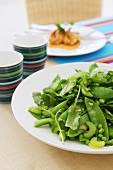 Mangetout, sugar snap pea and celery salad