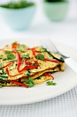Omelette with peppers and parsley