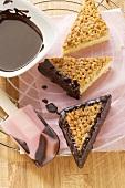 Chocolate-coated nut triangles