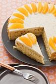 Orange cake with crushed praline