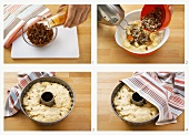 Making raisin gugelhupf with yeast dough