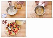 Making cake glaze and glazing a fruit cake