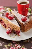 Cherry cake with almonds and Amaretto