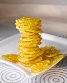 Jalebis with saffron (Sweet deep-fried pastry spirals, India)