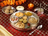 Thali (a selection of dishes and dips), Rajasthan, India