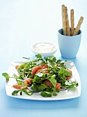 Salad leaves with smoked trout