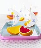 Fruit jelly boats for children