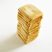 White sliced bread, stacked