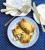 Pancakes with chicken and mushroom filling