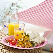 Chicken and mango wraps for a picnic