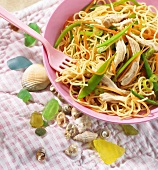 Egg noodles with chicken and vegetables (Vietnam)