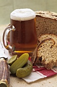Mustard and thyme bread with gherkins and beer