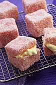 Coconut squares with cream filling