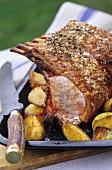 Rack of pork with roasted vegetables