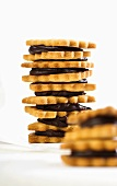 Tower of biscuits and chocolate cream