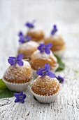 Muffins with violets