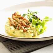 Mashed potato with shrimps and chives