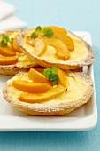 Peach tarts with vanilla custard