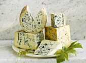 Stilton, Gorgonzola, Roquefort, Fourme d'Ambert, Shropshire Blue