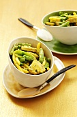 Pork curry with yellow wax beans and peas