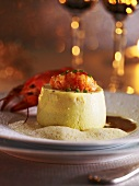 Crayfish timbale with foam sauce (Christmas)