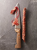 Basque dried sausage with knife