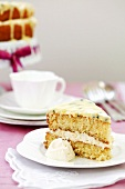 Piece of sponge cake with passion fruit cream