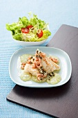 Fish fillet with fried capers, lime and shrimps