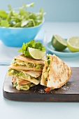 Avocado, cheese and tomato quesadilla