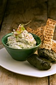 Tzatziki and stuffed vine leaves