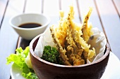 Japanese fish tempura with soy dip