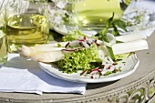 White asparagus with spring salad