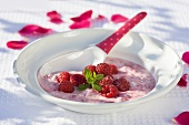 Raspberry yoghurt with fresh raspberries