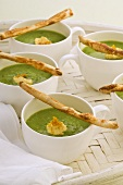Minted pea soup with grissini