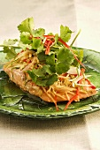 Salmon fillet with julienne vegetables and fresh coriander