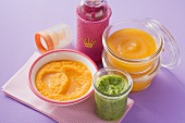 Carrot, pumpkin and courgette puree for babies
