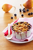 Pear and blueberry pudding
