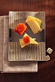 Cheese triangles with quince jelly