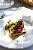 Vegetable lasagne with radicchio and rocket
