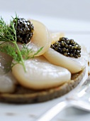 Scallop carpaccio with black caviar