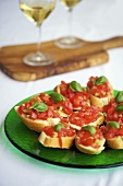 Bruschette (Tomatoes on toast with basil, Italy)