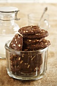 Chocolate coconut biscuits with almonds