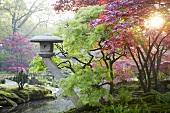 Japanischer Garten mit Steinlaterne