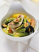 Fish soup with mussels and potatoes