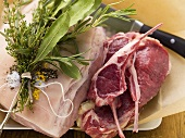 Different kinds of meat with bunch of herbs