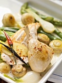 Chicken in Riesling with spring vegetables