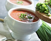 Cream of tomato soup with chives