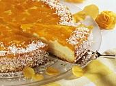 Sour cream cake with mandarin oranges and coconut flakes