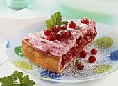 Piece of redcurrant meringue tart